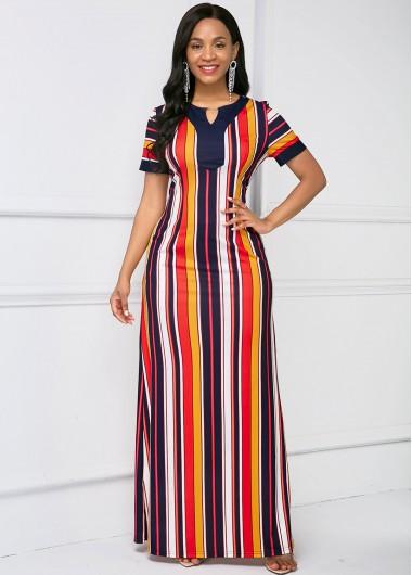 Stripe Print Short Sleeve Keyhole Neckline Maxi Dress - L