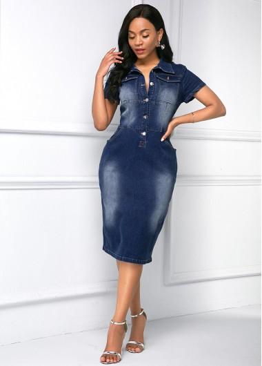 Button Up Side Pocket Turndown Collar Denim Dress - L