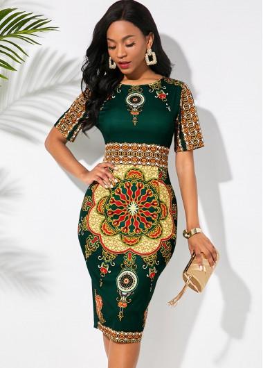 Tribal Print Round Neck Half Sleeve Dress - L
