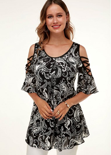 A Line Printed Cold Shoulder Flare Sleeve T Shirt - L