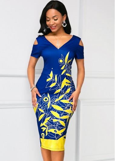 Printed Cold Shoulder V Neck Dress - L