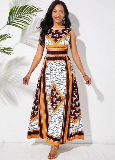 Tribal Print Round Neck Sleeveless Maxi Dress - L