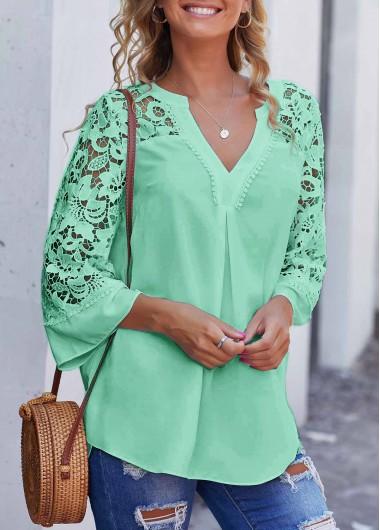 Split Neck Lace Stitching Mint Green Blouse - L