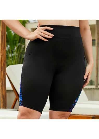 Printed Black High Waist Swimwear Pants - 12