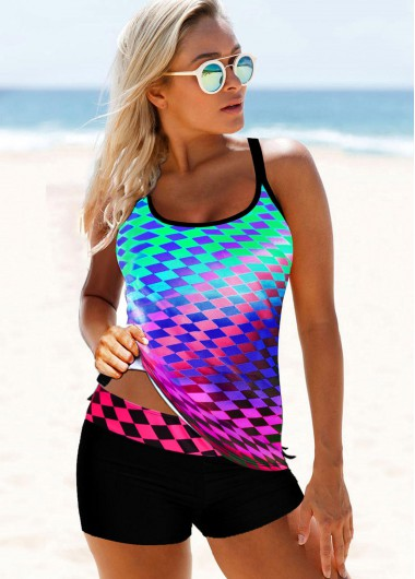Criss Cross Back Plaid Print Multi Color Tankini Set - 10