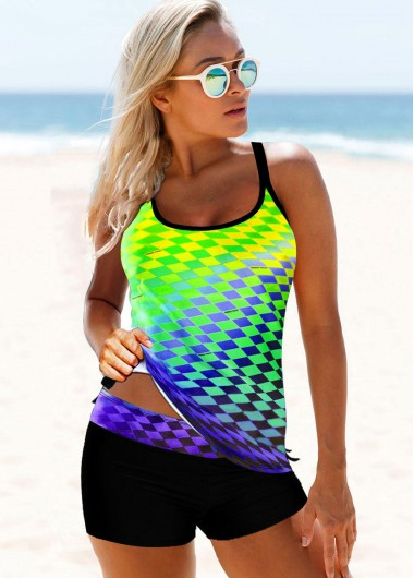 Cross Strap Plaid Print Multi Color Tankini Set - 10