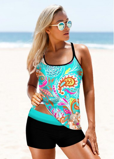 Criss Cross Back Printed Green Tankini Set - L
