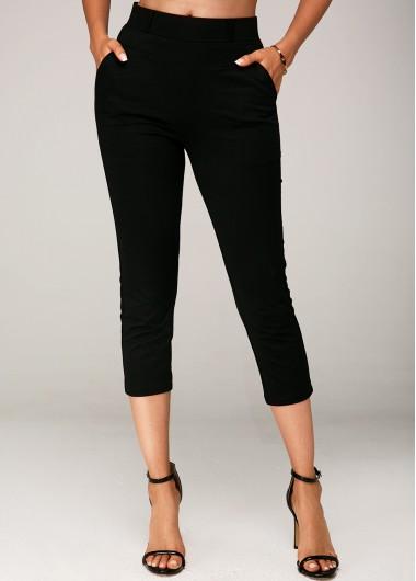 Side Pocket Black Elastic Waist Crop Pants - L