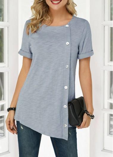 Inclined Button Asymmetric Hem Short Sleeve T Shirt - S