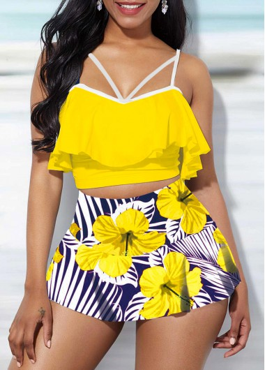 Modlily Ruffle Overlay Swimwear Top and Floral Print High Waisted Pantskirt - S