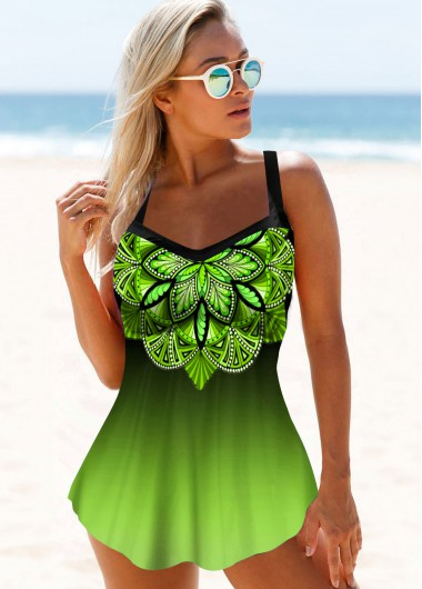 Printed Spaghetti Strap Gradient Swimdress and Panty - 10