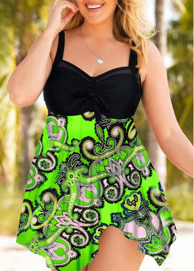 Plus Size Printed Wide Strap Swimdress and Panty - 0X
