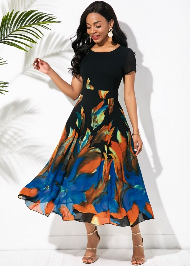 Printed Round Neck Short Sleeve Swing Dress - L