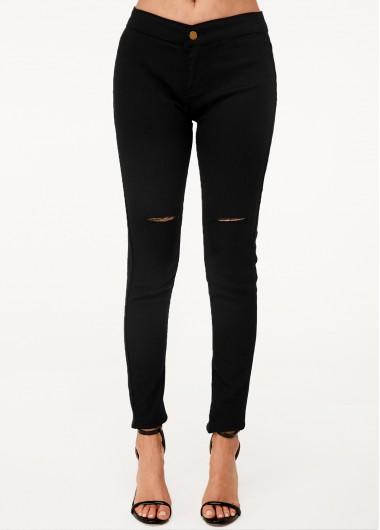 Shredded Black High Waist Skinny Jeans - L