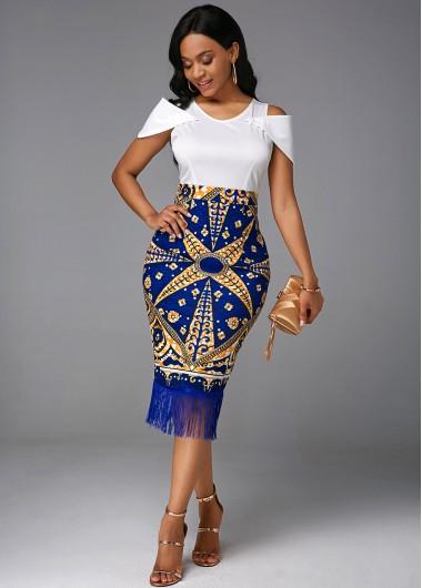 Round Neck Tassel Cold Shoulder Tribal Print Dress - L