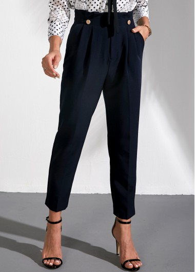 Paperbag Waist Navy Blue Straight Pants - L