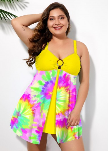 Plus Size Multi Color Tie Dye Swimdress and Panty - 1X