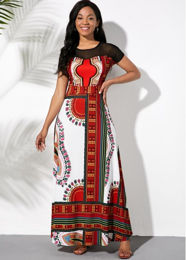 Tribal Print Short Sleeve Maxi Dress - L