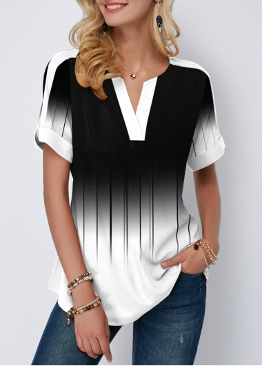 Color Block Short Sleeve Printed Blouse - L