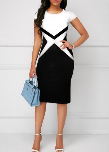 Color Block Round Neck Short Sleeve Dress - L