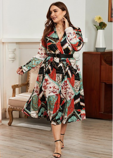 Plus Size Tribal Print Belted Dress - XL