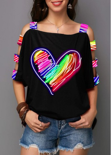 Heart Print Ladder Cutout Sleeve Rainbow T Shirt - L