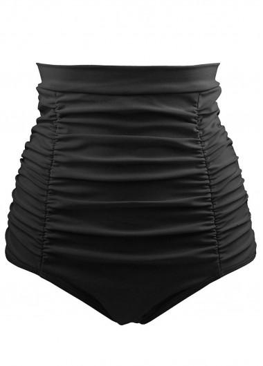 Ruched Black High Waist Swimwear Panty - L