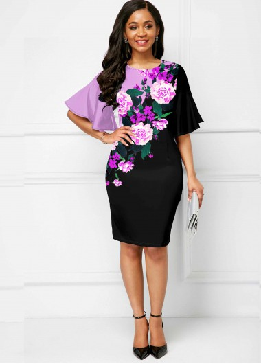 Flare Sleeve Floral Print Round Neck Dress - L