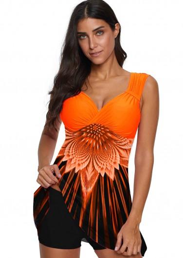 Printed Wide Strap Orange Swimwear Top - L