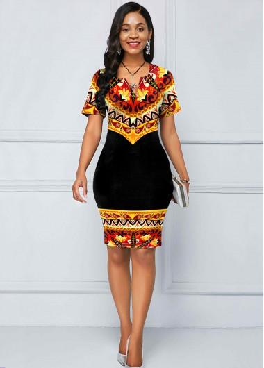 Tribal Print Split Neck Short Sleeve Dress - L