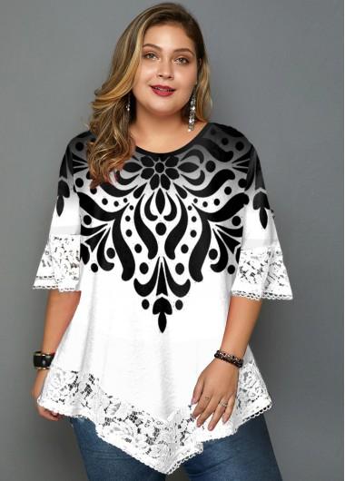 Plus Size Lace Panel Asymmetric Hem Printed T Shirt - 1X