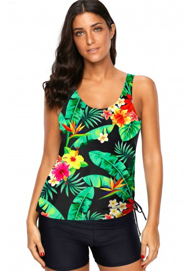 Tropical Print Drawstring Side Wide Strap Tankini Set - L