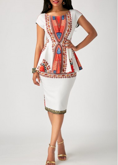 Tribal Print Peplum Waist Cap Sleeve Dress - XL