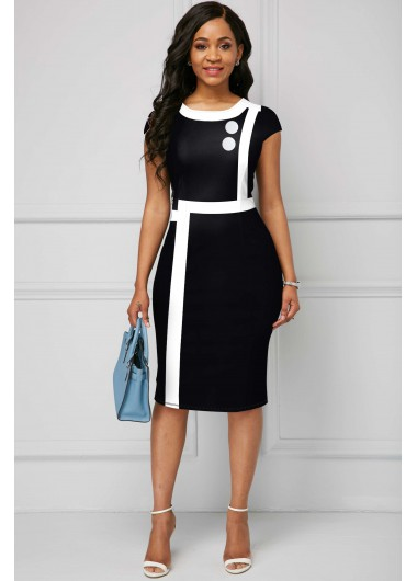Contrast Piping Round Neck Short Sleeve Dress - L