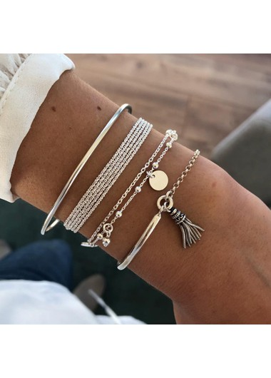 Multi Layer Tassel Silver Bracelet Set - One Size