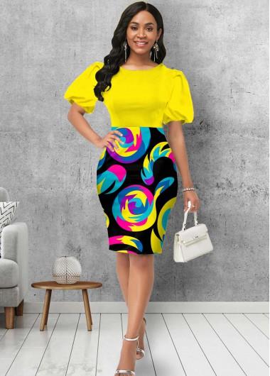 Puff Sleeve Geometric Print Round Neck Dress - L