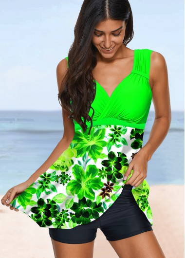 Floral Print Wide Strap Swimdress and Shorts - L