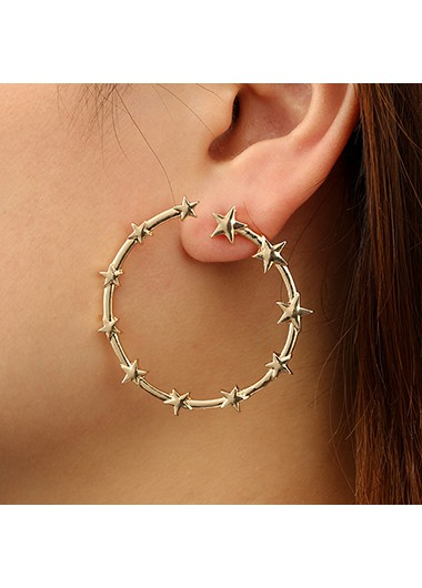 Star Gold Metal Round Shape Earring Set - One Size