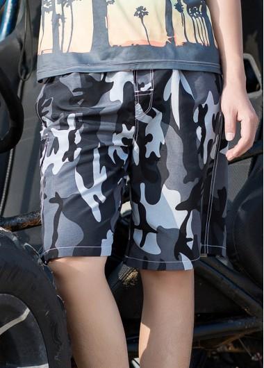 Bermuda Shorts Men's Quick Dry Swim Trunks Camouflage Print Beach Shorts With Mesh Lining - L