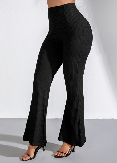 High Waist Black Elastic Flare Pants - L