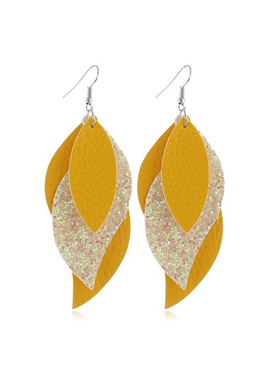 Yellow Faux Leather Leaf Design Earrings - One Size