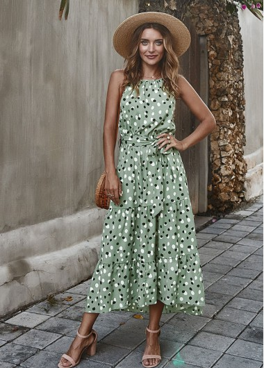 Polka Dot Print Belted Maxi Dress - L