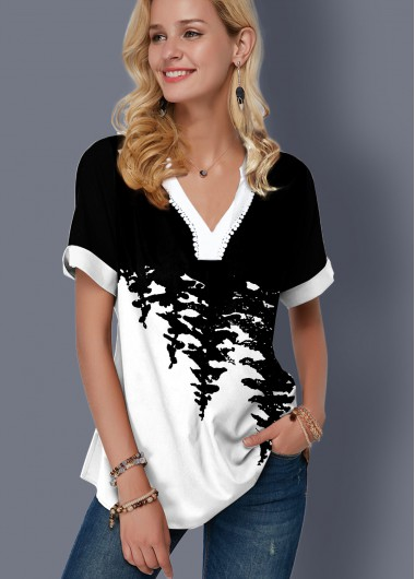 Printed Split Neck Color Block Blouse - S