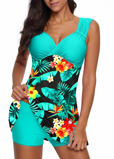 Tropical Print Wide Strap Swimdress and Shorts - L