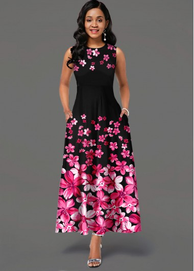 Floral Print Side Pocket Sleeveless Maxi Dress - L