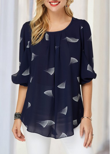 Printed Blouson Sleeve Navy Blue Blouse - L
