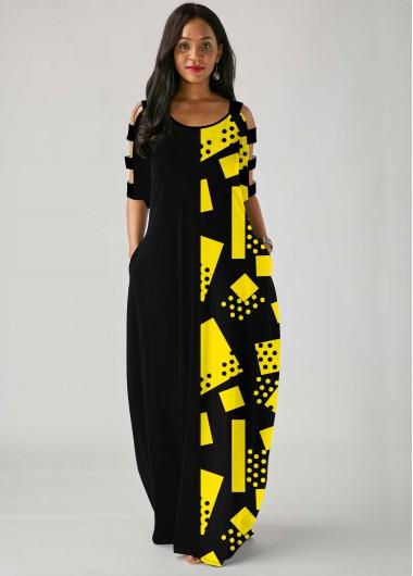 Geometric Print Ladder Cutout Sleeve Side Pocket Maxi Dress - L