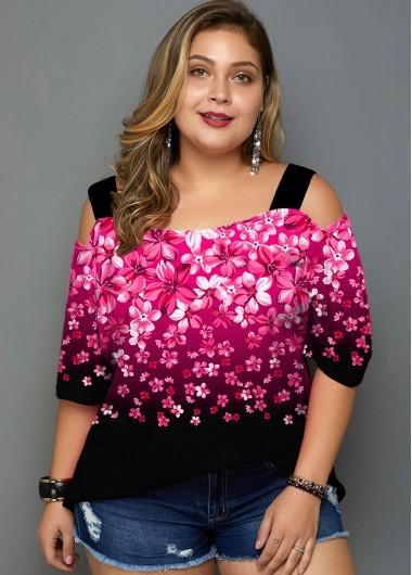 Plus Size Floral Print Cold Shoulder Gradient T Shirt - 1X