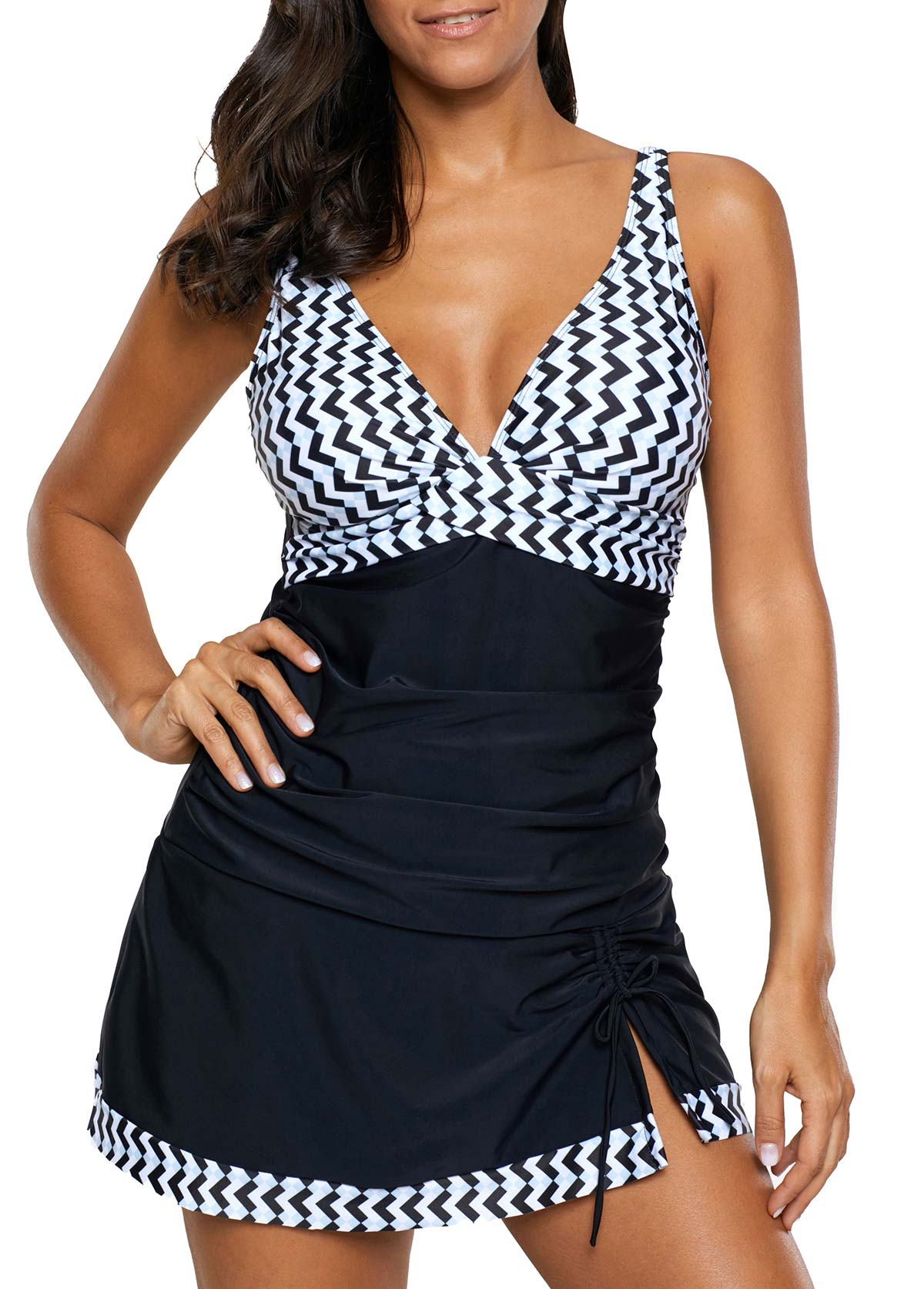 Plunging Neck Drawstring Detail Ruched Swimdress and Panty