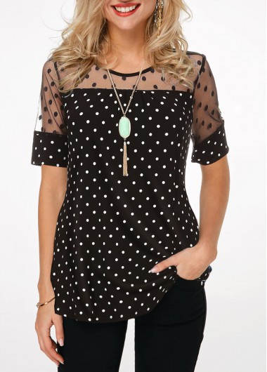 Polka Dot Lace Patchwork Short Sleeve Blouse
